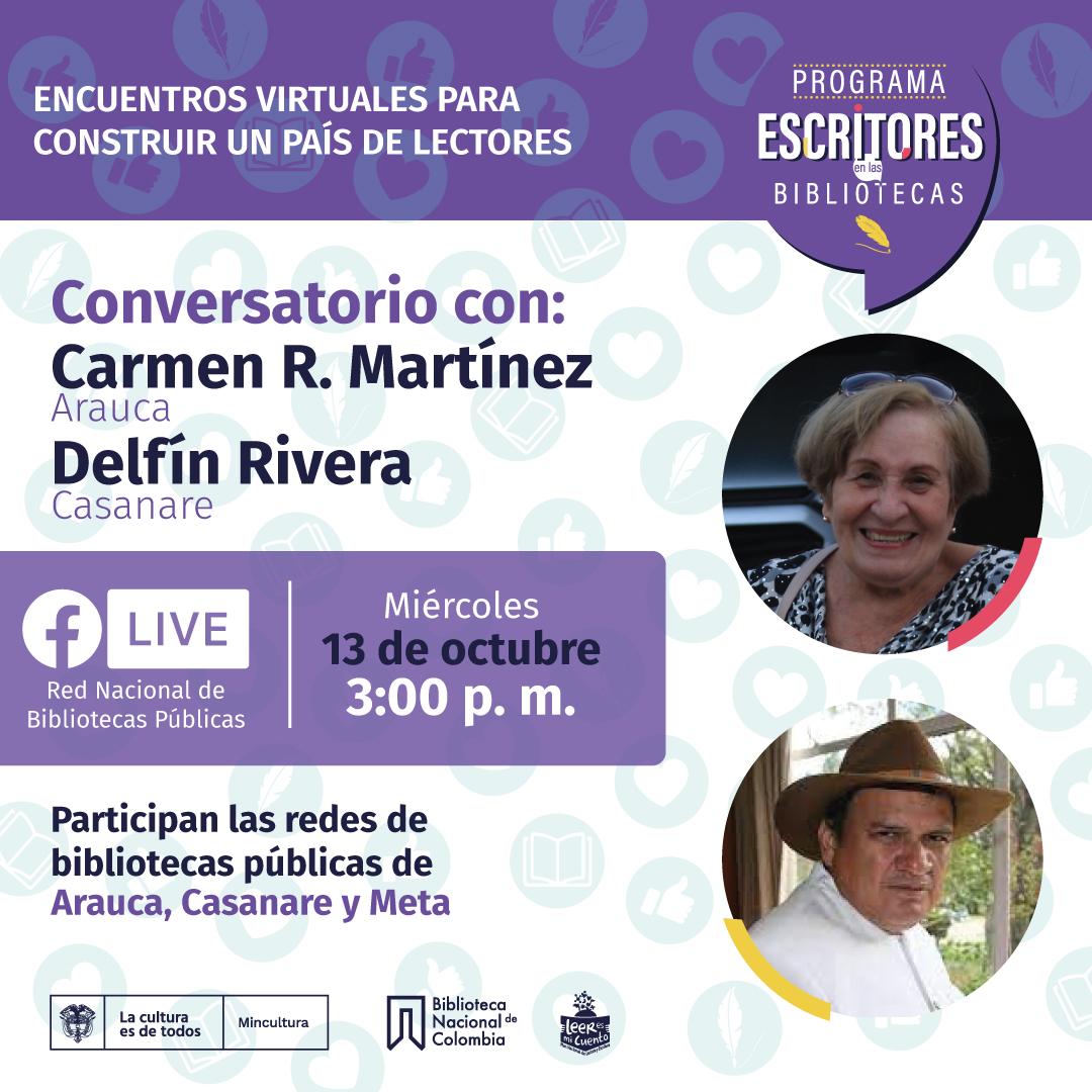 Escritores en las bibliotecas con Carmen Martínez y Delfín Rivera